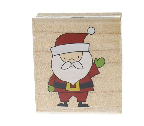 Hampton Art Holiday Santa Claus Christmas Icon Words Wooden Rubber Stamp