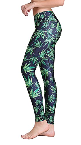 High Compression Marijuana Leaf Printed Sport Running Leggings for Women (Marijuana Leaf)