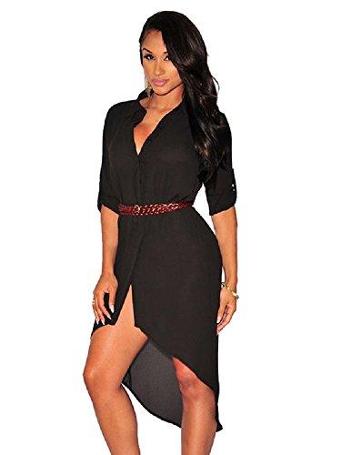 Nuevas señoras negro Belted camiseta vestido Mini vestido Club Wear Evening fiesta verano vestidos tamaño UK 10–�?2EU 38–�?0