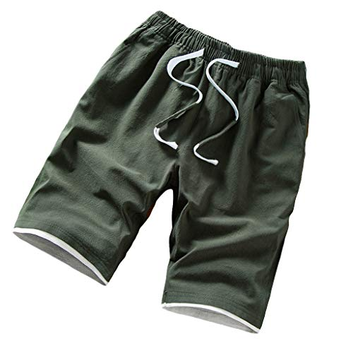 Canserin Men's Loose-fit Mountain Bike Shorts Lightweight Cycling Large-Size Shorts (Army Green,XXXXL)