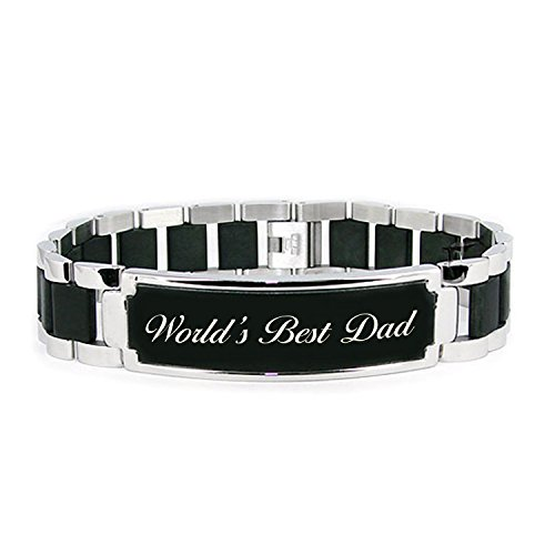 Stainless Inspirational Engraved Rubber Bracelet product image