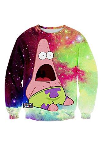 Cutiefox Womens Sponge Bob Print Long Sleeve Sweatshirts Shirts (Female Spongebob)