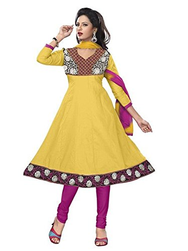 Vibes Women's PC Cotton Unstitched Dress Material(V313-6004_Yellow)