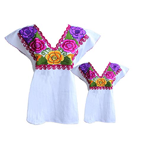 TABIK Floral Authentic Mexican Peasant Blouse Embroidered Blouse for Women, Girls -Matching Outfit - Choose Color (White)