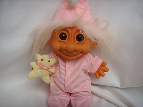 "Troll Doll Toy in Pink Pajamas 9"" Collectible with Teddy Bear"