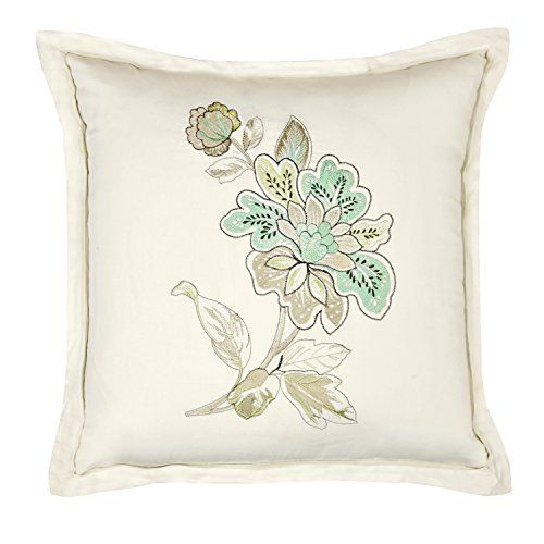 Veratex The Jardin Collection Made in the U.S.A. Linen Embroidered Modern Decorative Throw Pillow, Natural Linen