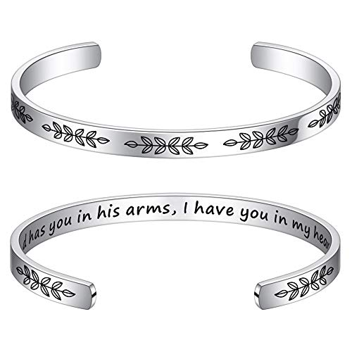 M MOOHAM Memorial Gifts for Loss of Loved One - Memorial Bracelet in Memory of Loved One Remembering Jewelry Loss of Mom Bracelet, God Has You in His Arms I Have You in My Heart
