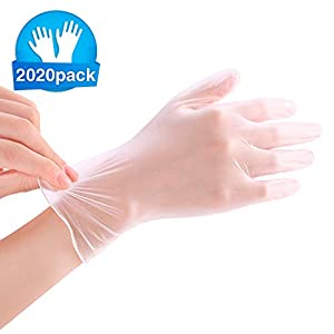 100 Pack Disposable Vinyl Gloves,Medical Exam Grade,Food Safe,Powder & Rubber Latex Free, Non Sterile, Ambidextrous…