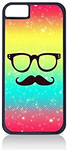 Rainbow-Glasses and Mustache- Case for the Apple Iphone 5C-Hard Black Plastic Outer Shell with Inner Soft Black Rubber Lining