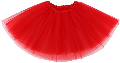 AshopZ Women's 3-Layered Ballet Tutu Skirt, Tulle Fibers &Classic Elastic, Red -