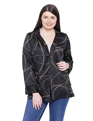 oxolloxo Women's Plus Size Long Sleeve Abstract Blazer (Black)