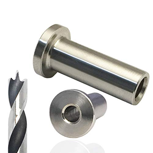 60-Pcs Stainless Steel Protector Sleeves Include a Drill Bit for Cable Railing Kit Which with Wood Posts (1/8-Inch)