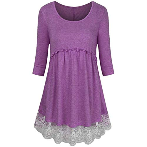 Bafaretk Womens Plus Size 3/4 Sleeve Empire Waist Blouse Lace Splicing Tunic Pullover Tops (XL, Purple) by Bafaretk