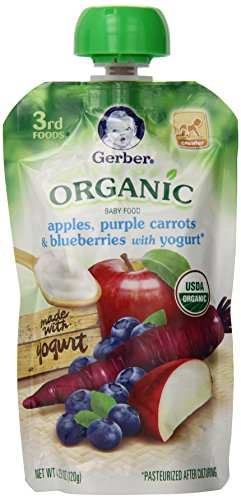 Gerber Organic 3rd Foods Apples, Purple Carrots & Blueberries with Yogurt, 4.23 Ounce Pouch  (Pack of 12)