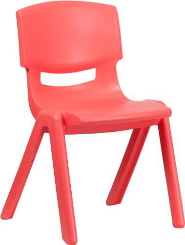 Flash Furniture Red Plastic Stackable School Chair with 15.5'' Seat Height YU-YCX-005-RED-GG