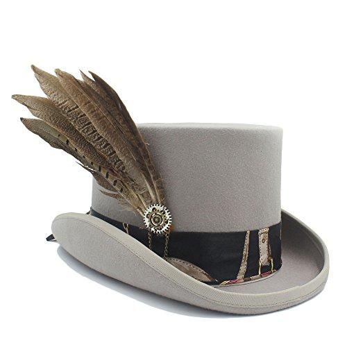 Sdcvopl Top Costume Hat Women Fodora Steampunk Hat with Gear Wheel Top Hat Lightweight (Color : 3, Size : 61CM) ()