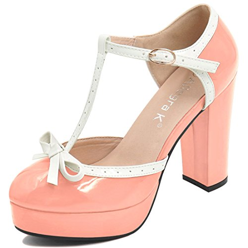 Heels Strap T-strap Ankle (Allegra K Women's Bow T-Strap Chunky Heel Ankle Strap Pumps (Size US 8.5) Pink)