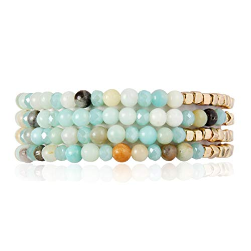 Bohemian Multi-Layer Sparkly Crystal Bead Charm Bracelet - Stretch Strand Stackable Bangle Set Tassel/Coin/Acrylic Druzy/Lava Diffuser Crescent (Delicate Natural Stone & Gold Mix - Amazonite)