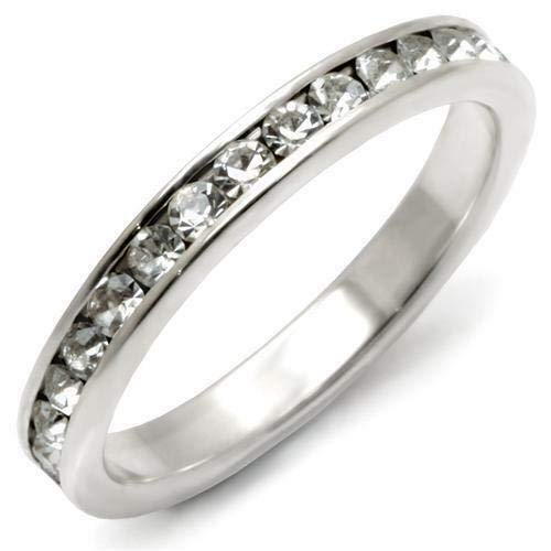 Channel Set Austrian Crystals Band Sterling Silver 925 Ring Women Size -
