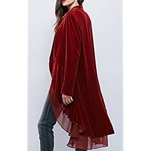 R.Vivimos Womens Ruffled Asymmetric Long Velvet Blazers Coat Casual Jackets