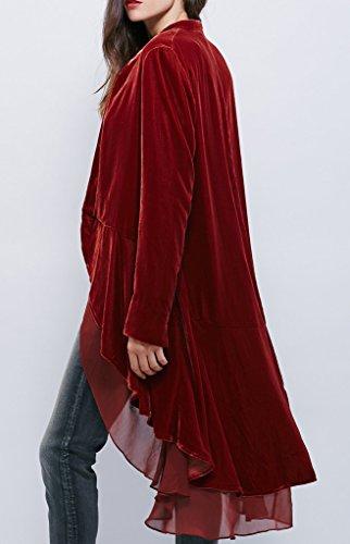 R.Vivimos Womens Ruffled Asymmetric Long Velvet Blazers Coat Casual Jackets 4