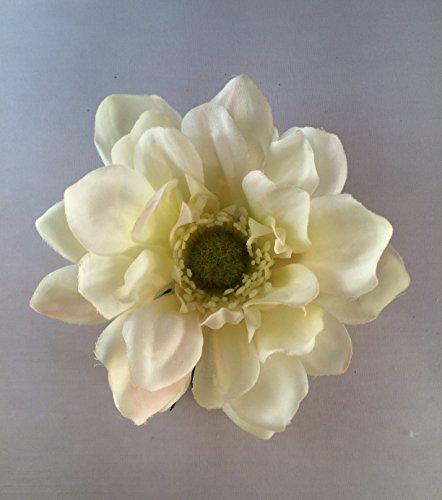 Garden Anemone Artificial Flower Hair Clip/Pin Brooch (White (Anemone Garden)