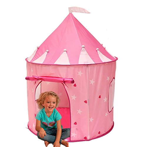 Babrit Play Tent for Kids Indoor or Outdoor Fairy Tale Castle Pink Children Playhouse