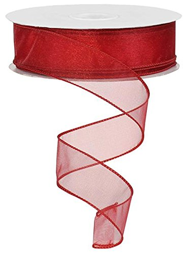 (Sheer organza ribbon wired edge. color - red. 1 1/2'' x 50 yards)