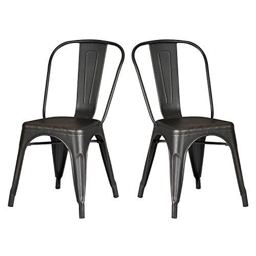 """18"""" Modern Style Metal Dining Room Kitchen Bar Chairs (Set of 2), Distressed Black"""