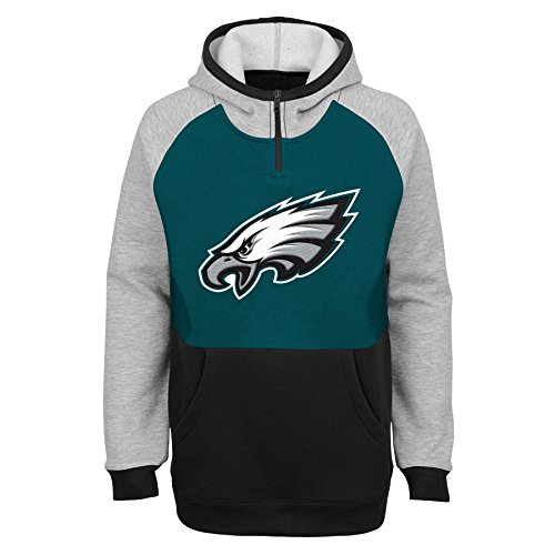 Outerstuff NFL Philadelphia Eagles Youth Boys Regulator Hooded 1/4 Zip Top, Jade, Youth Large(14-16)