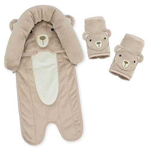 Travel Bug Baby & Toddler 3-Piece Head Support & Strap Covers Set for Car Seats, Strollers & Bouncers - Bear - Brown/Tan