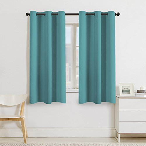 Gentil Turquoize Blackout Curtains Panels For Bedroom   Ultra Soft Microfiber  Noise Reducing Thermal Insulated Solid Grommet Window Drapes (Two Panels,  ...