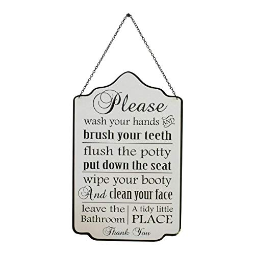 VIPSSCI Metal Bathroom Rules Sign with Hanging Chain Guest Bathroom Wall Plaque Embossed Metal Font