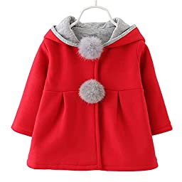 Baby Girl\'s Toddler Kids Winter Coat Jacket Outwear Hoodie with Ears(M,Red)