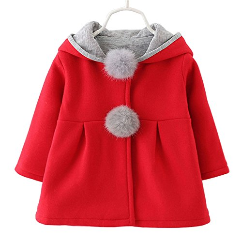 Baby Girls Toddler Kids Winter Big Ears Hoodie Jackets Outerwear Coats(Red,2T,XL/10)
