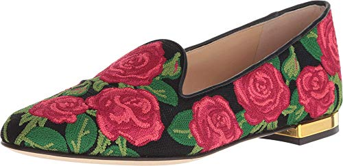 charlotte olympia Rose Loafer Multi Embroidered Canvas 37.5 (US Women's 7.5)