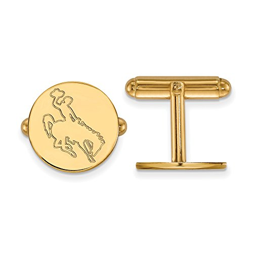 Wyoming Disc Cuff Links (14k Yellow Gold) by LogoArt