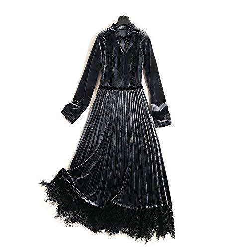 Or Sangle Pure Velours Robe Taille Col Haute Jupe Coutures Doux En V Femmes Élastique Mode Red Couleur Longue 6q4zEwU