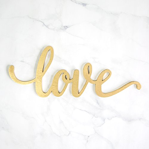 Love Wood Sign Home Décor Wall Art Gold 24