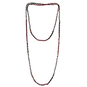 KELITCH Boho Multi Strand Necklace Faceted Glass Crystal Beaded Extra Long Chain - A