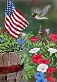 "Patriotic Hummingbird Garden Size 12"" X 18"" Decorative Flag License and Copyright Custom Decor Inc. MADE IN USA"