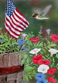 Patriotic hummingbird garden size 12 x 18 for Custom decor inc