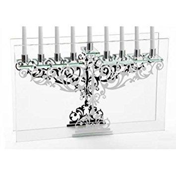 StudioSilversmiths 43925 Ornate Mirror Sheet Glass Menorah Candelabra ()