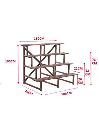 CWJ Flower Rack Ladder Solid Wood Flower Racks Balcony Outdo