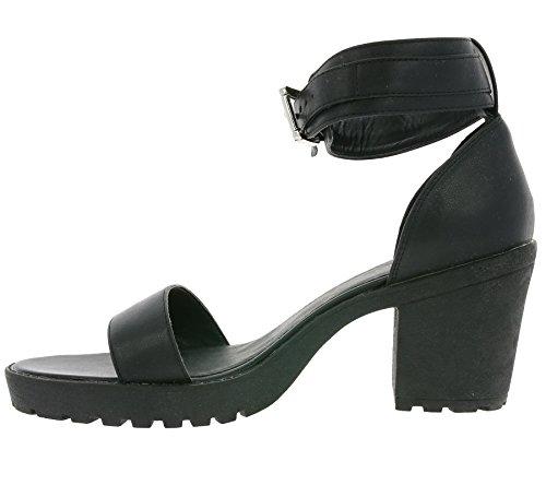 heine Buckle Schuhe Damen Sandaletten Absatz-Schuhe Schwarz 181254