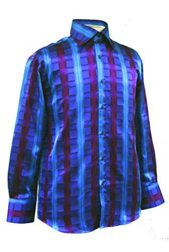 - Men's Windowpane Check Shirt - Turquoise 6XL