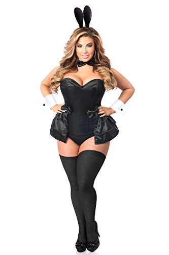 (Daisy Corsets Women's Lavish Plus Size 5 Pc Formal Tuxedo Bunny Corset Costume, Black, 4X)