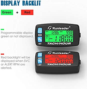 Button-Black Runleader Hour Meter Tachometer,Maintenance Reminder,Alert RPM,Backlit Display,Initial Hours Setting,Battery Replaceable,Use for ZTR Mower Generator Marine ATV and Gas Powered Device.
