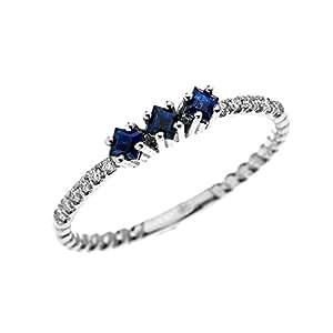 Amazon 14k White Gold Three Stone Princess Cut Sapphire and Diamond Dainty Rope Design Ring