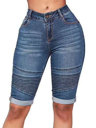 Govc Womens Knee Length Stretchy Bermuda Denim Shorts Folded Hem Short Jeans(DarkBlue,XXL) ()